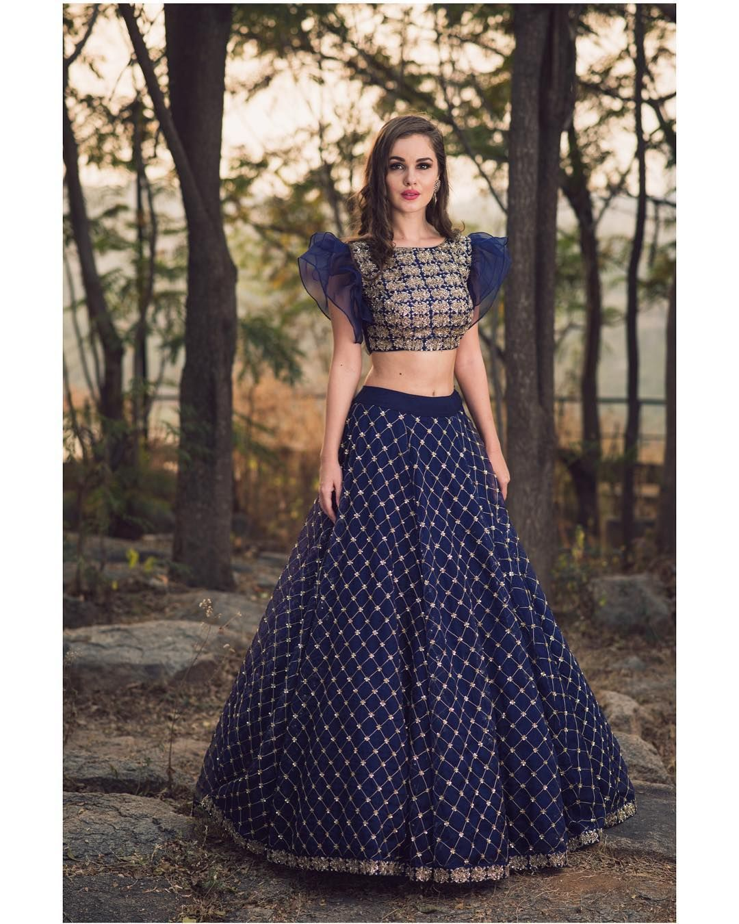 4a2e1ec02f43ae Beautiful blue color designer lehenga and blouse with hand embroidery  zardosi work. Blouse with swirl