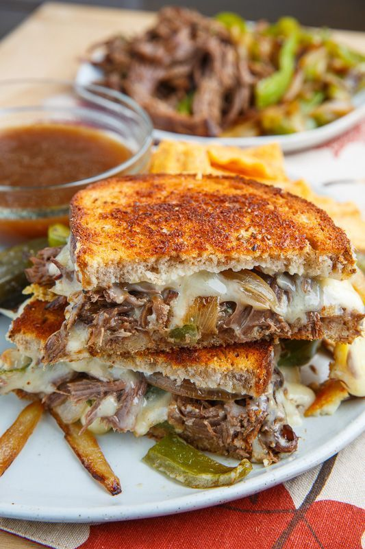 Slow Cooker Roast Beef Philly Cheesesteak French Dip Grilled Cheese Sandwich images