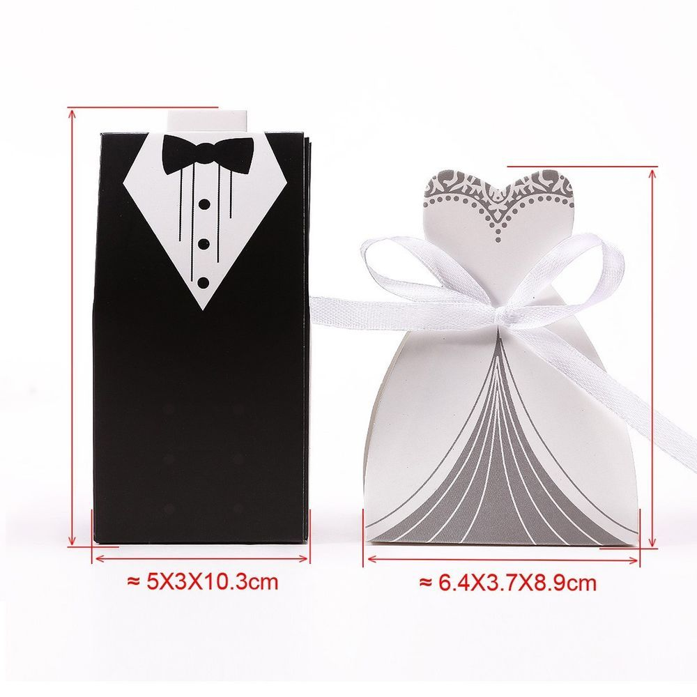 100 X Wedding Engagement Party dress tuxdo bride groom Candy Favors ...