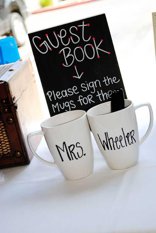breakfast and coffee bridal shower themed guest book idea bridalshower