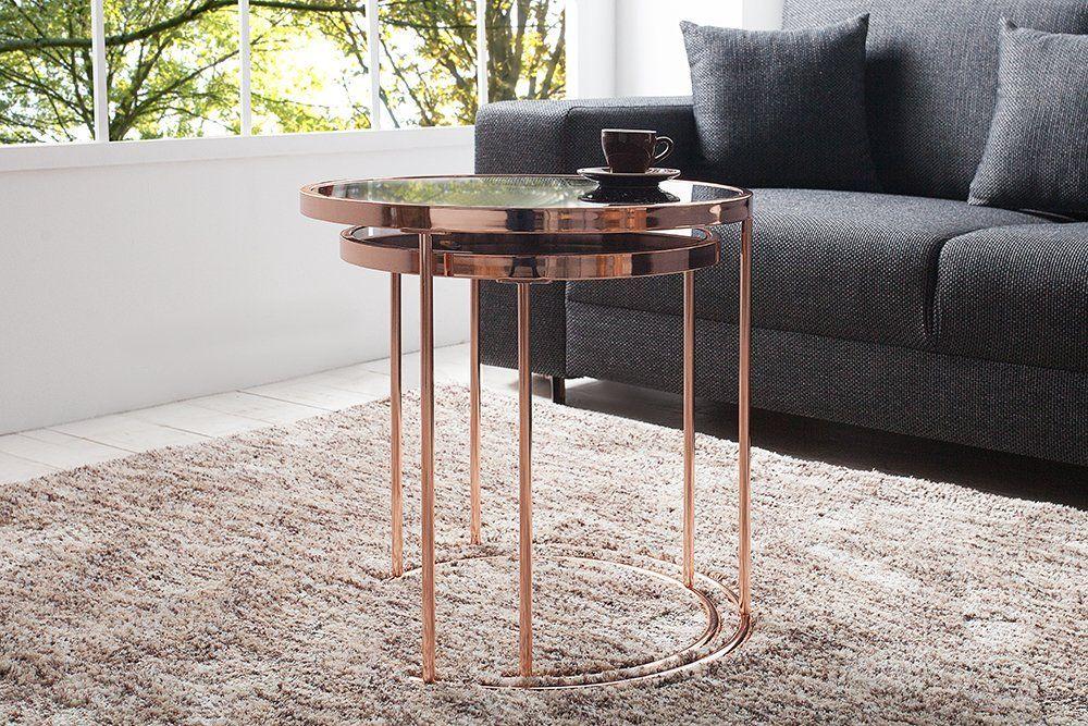 2er Set Design Couchtisch Original Art Deco Ii Kupfer Schwarz Beistelltisch Satztische Glastisch Amazon De Kuche Haushalt Side Table Bauhaus Decor