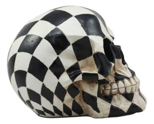 Photo of Day Of The Dead Harlequin Black And White Checkered Skull Statue Sugar Skull Art
