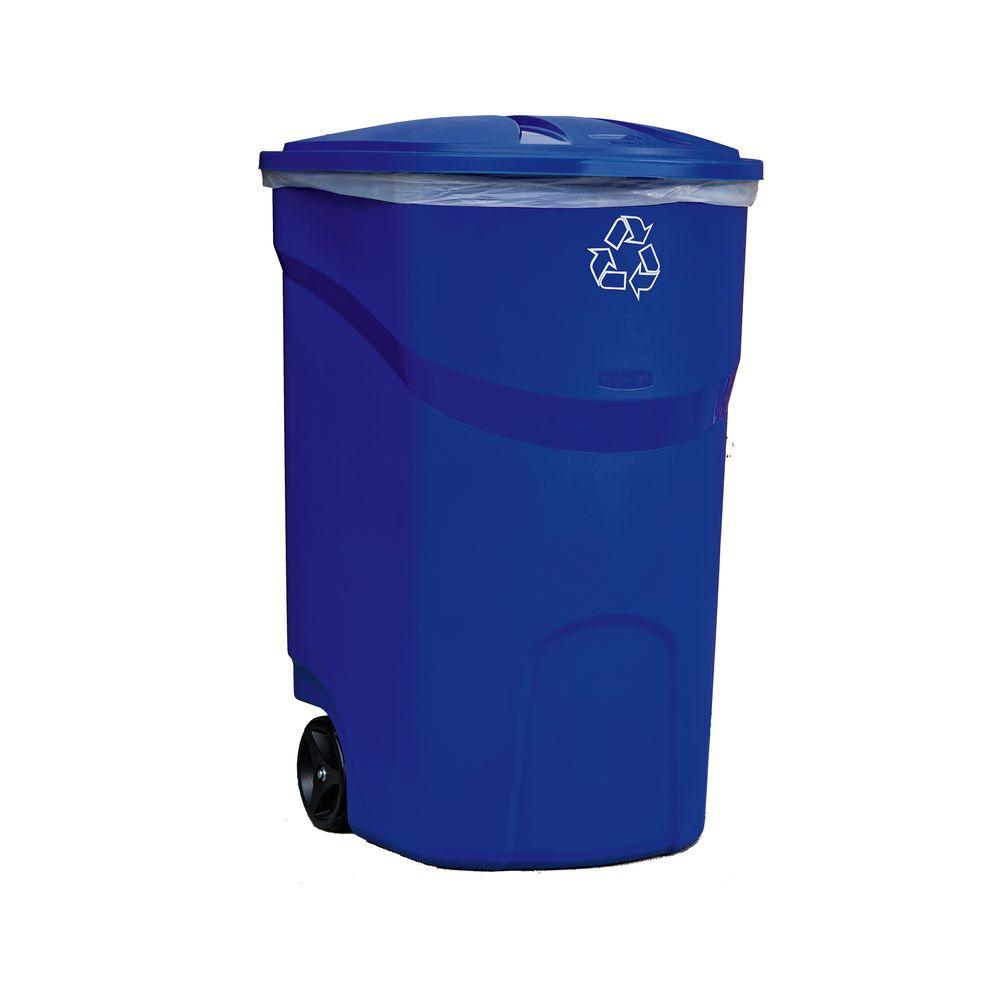 Heavy Duty Wheeled Garbage Container Black Rubbermaid Trash Can w// Lid 45 Gal