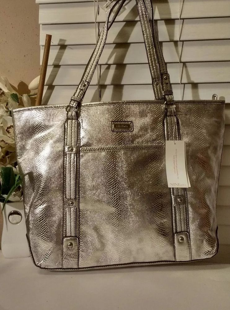 Nine Co Nwt 69 00 Silver Metallic Faux Snake Print Leather Hobo Handbag