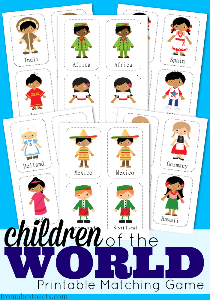 free children of the world matching game - Free Printables For Children
