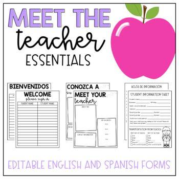 Meet the teacher pack Teacher checklist, Teacher forms and Teacher