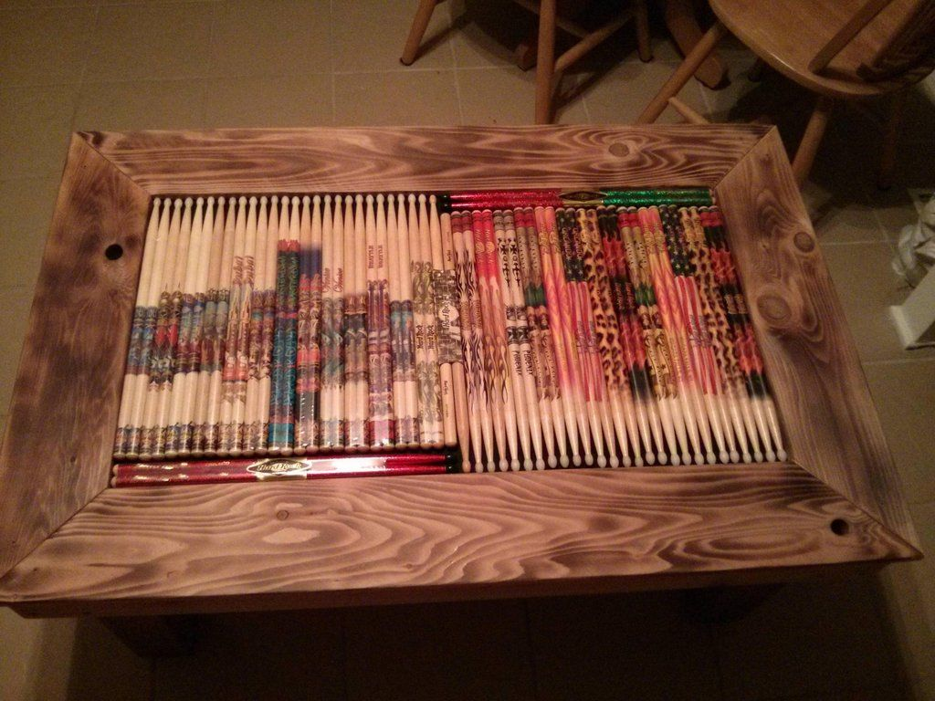 Diy drumstick inlay coffee table geotapseo Choice Image