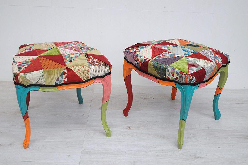 chaises hautes transform es en tabourets multicolores par atelier d 39 co solidaire r cup. Black Bedroom Furniture Sets. Home Design Ideas