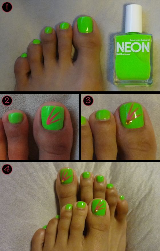 tropical neon nail design how-to with @American Apparel neon nail ...