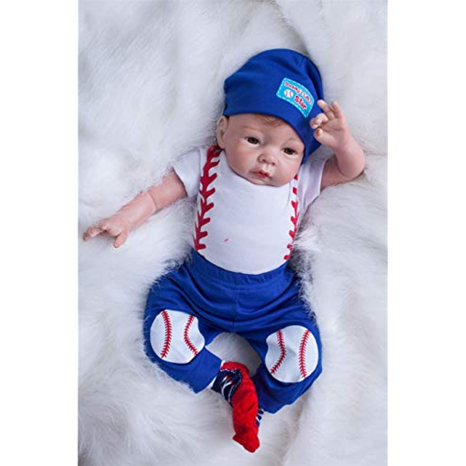 """iCradle Reborn Toddler 24/"""" Realistic Silicone Reborn Baby Dolls Boy with Outfit"""
