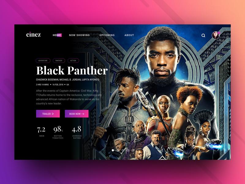Cinez Movie Ticket Booking Header Concept Movie Website Website Design Inspiration Website Design