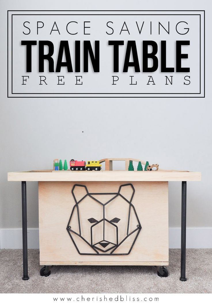 Space Saving DIY Train Table Free Plans is part of Playroom Organization With Train Table - Do your kids love train tables but you don't have the space  This smaller, easily stored Space Saving DIY Train Table is the perfect solution!