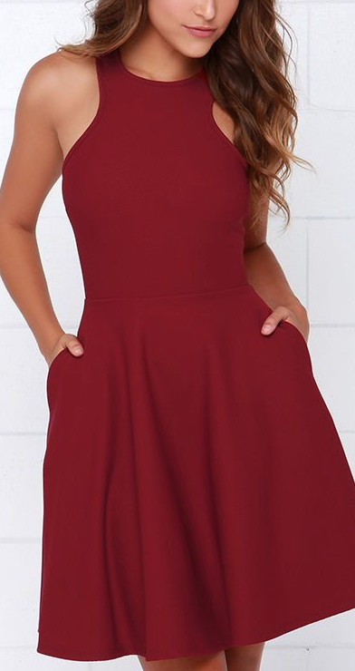 404a8954ae4 Now or Skater Wine Red Dress