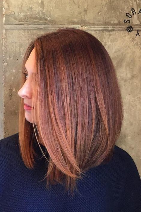 Wavy Brown Hair With Red Lowlights And Copper Highlights