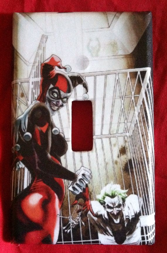 Harley quinn and the joker light switch cover on etsy 6 for Harley quinn bedroom designs