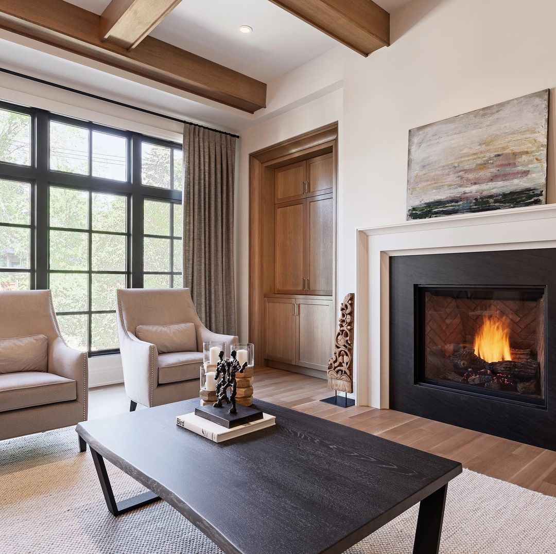"""Melissa Manzardo Hryszko on Instagram: """"Cozy up by the fire this weekend!! . . . . . . . . . 📷: @sujataphoto_architecture #interiors #customhome #houseenvy #interior_and_living…"""""""