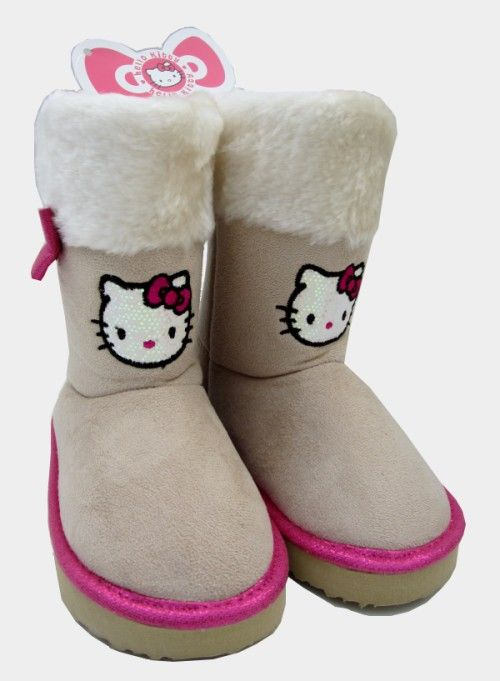 08c97a11801c GIRLS HELLO KITTY SANRIO FUR TRIMMED SEQUINED BOOTS Girls fantastic faux  suede Sanrio Hello Kitty Ugg