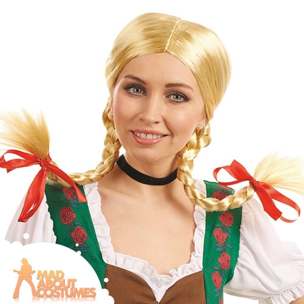 Plaited Oktoberfest Wigs Ladies Fancy Dress Bavarian Womens Adults Costume Wigs