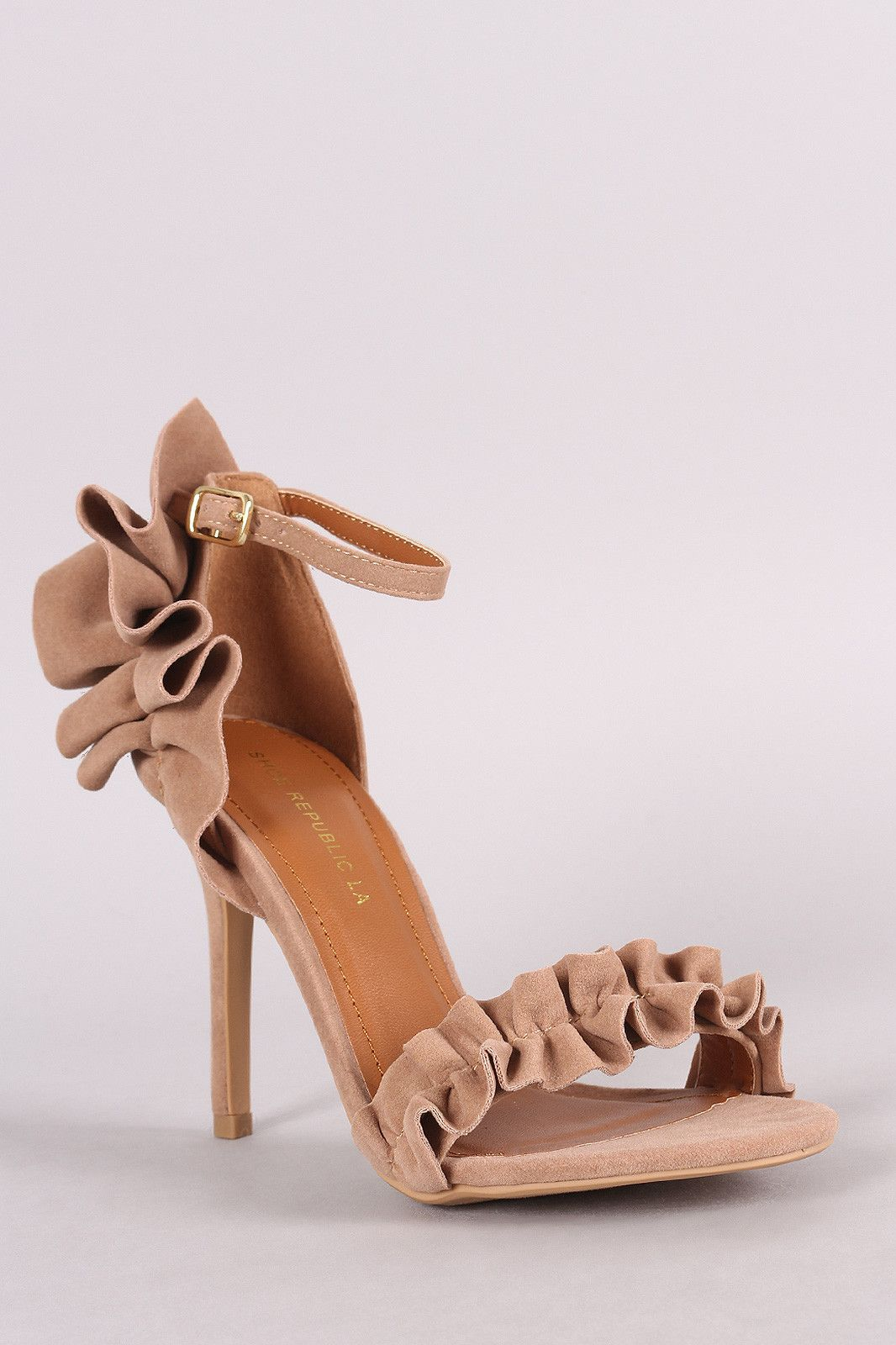 Shoe Republic LA Suede Ruffle-Trimmed Ankle Strap Heel
