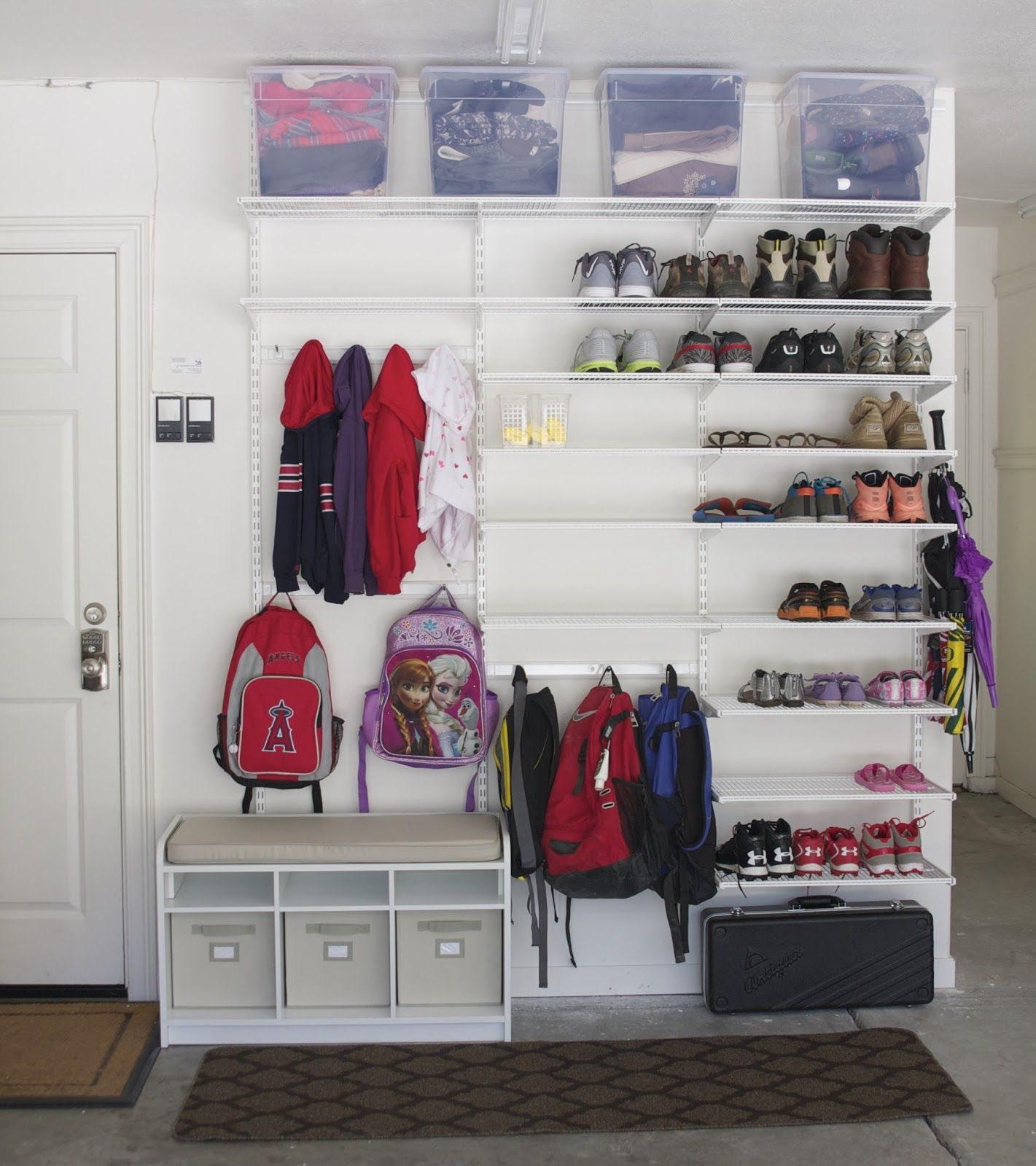 garage shoe rack this is fantastic although for the coats i would put a pole in so you can hang more than 3 plus storage ontop perfect