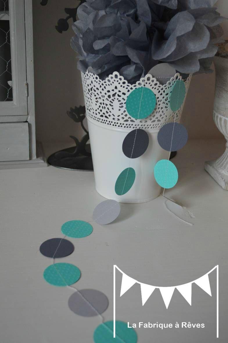 guirlande pastille cousue rond papier carton turquoise gris clair ...