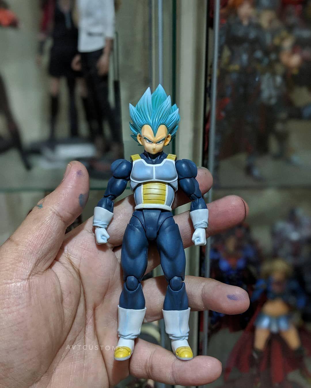 Shf Super Saiyan Blue Vegeta Hair Repaint By Avtcustoms Super Saiyan Blue Custom Action Figures Super Saiyan