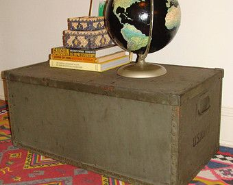 Vintage Metal U.S. NAVY Issued Footlocker Armed Forces Steamer Trunk  Industrial Bohemian Decor Toy Chest Coffee