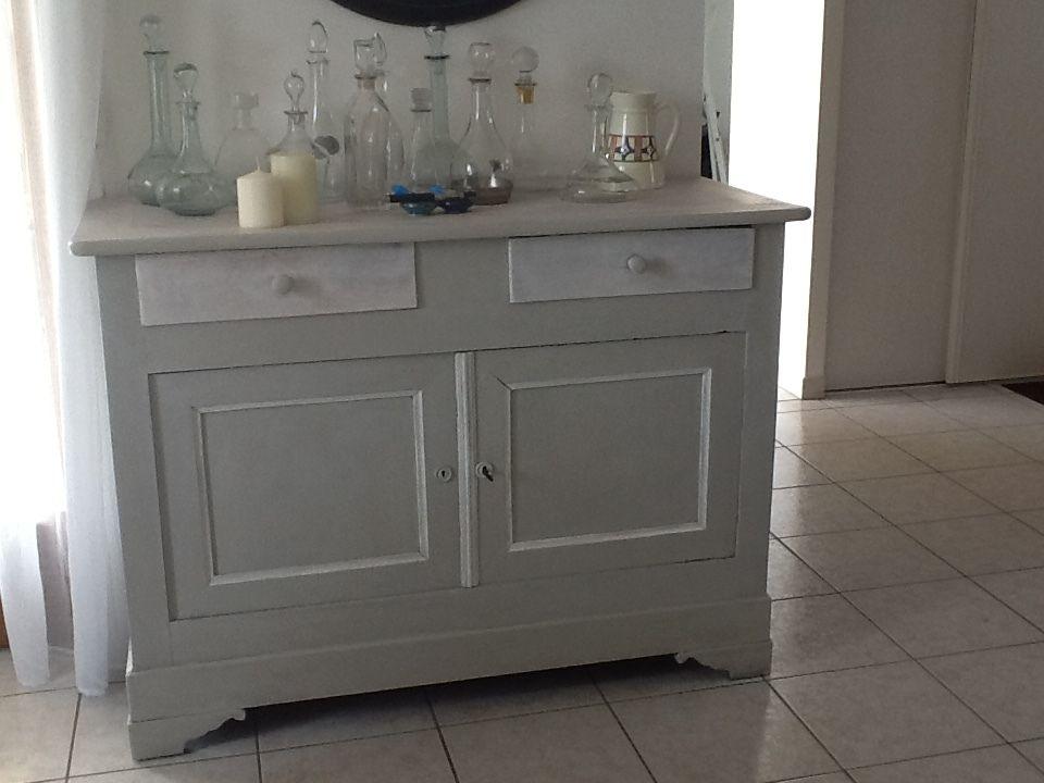 Buffet 2 Portes Noyer Massif Gris Blanc Gustavien Tiroirs Et Plateau Blanc Ceruse Mobilier De Salon Tapissier Decorateur Decoration Interieure