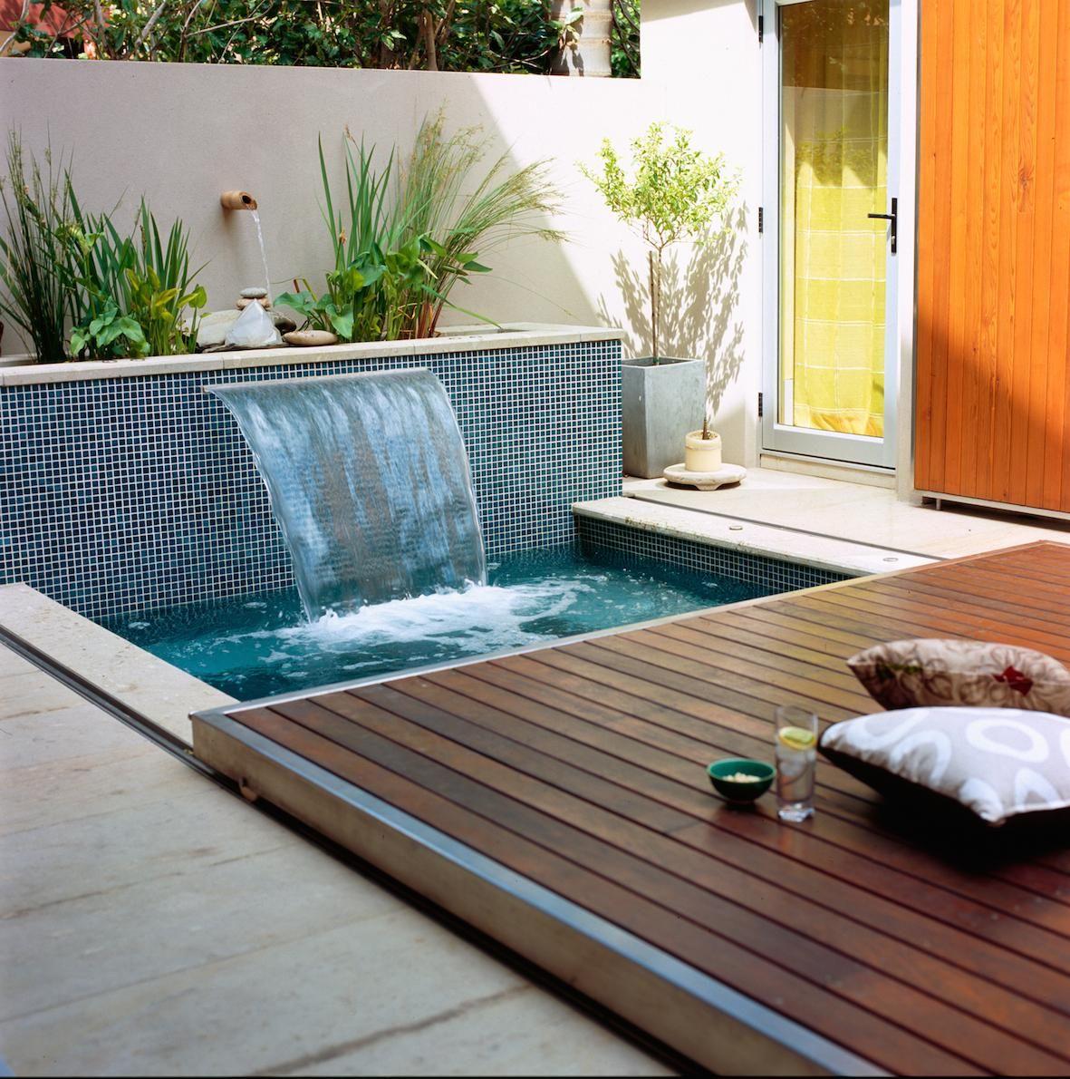 Waterfall u sliding floor piscinas pinterest plunge pool