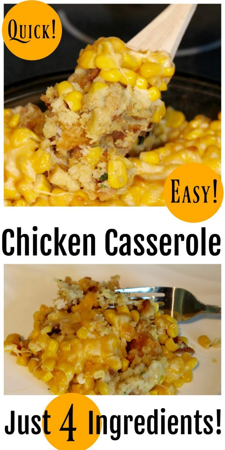 Quick & Easy 4 Ingredient Chicken Casserole #quickeasydinners