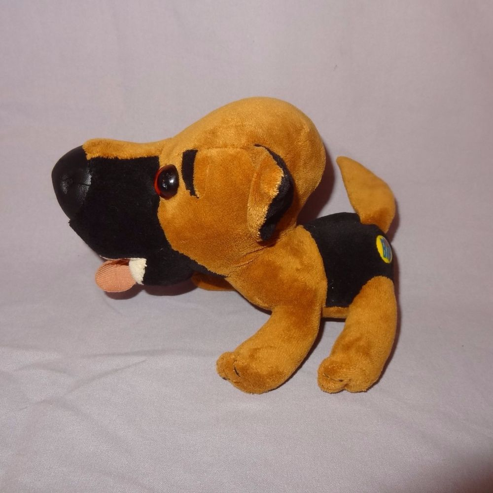 Dog Stuffed Animal Plush Toy Head First Big 2002 Brown Black Puppy