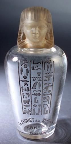 Perfume Bottle; Baccarat Glass, for Ramses, Le Secret du Sphinx, Clear & Frosted, Gray Patina, 4 inch.
