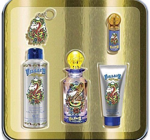 Ed Hardy Love Luck For Men 3 4 Oz 100 Ml Edt Spray: ED HARDY VILLAIN Men Gift Set Eau De Toilette 4.2oz Spray + .25SP + 3oz H&B WASH + 6oz B/SPR By