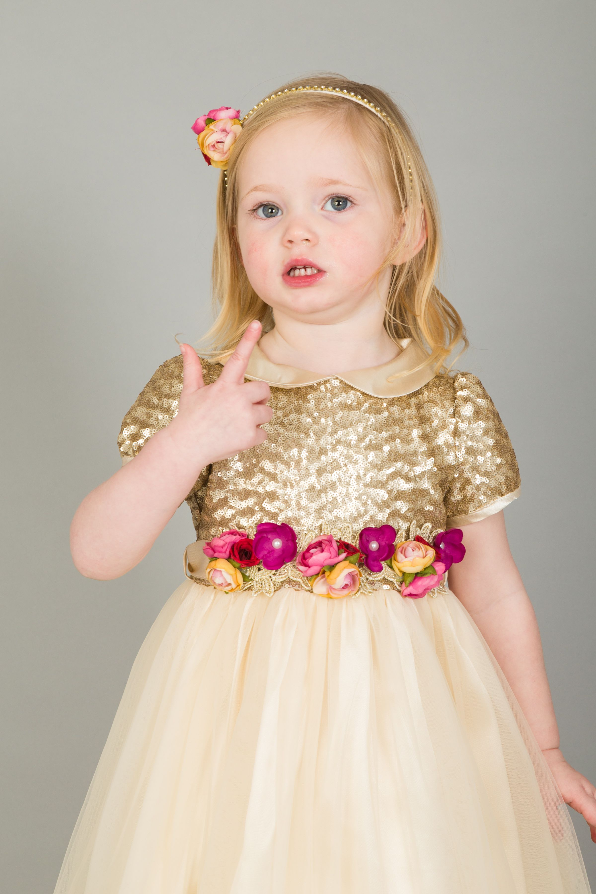 f7378607e01 Gold Sequin Flower Funky Snow White  Party Dress
