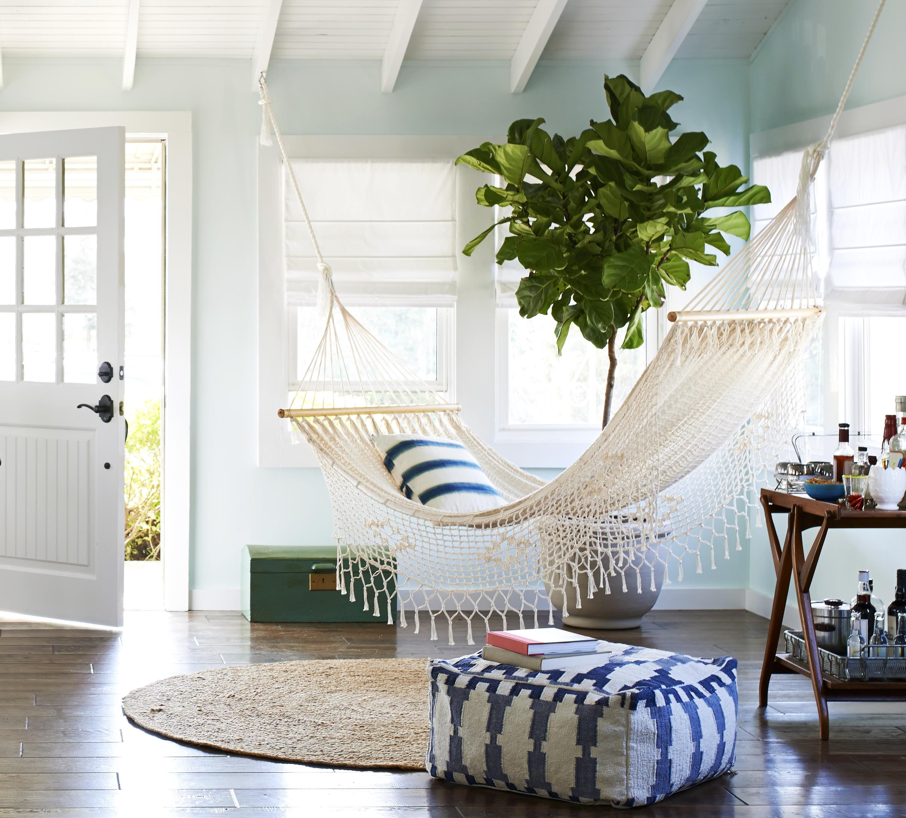 Create an outdoor chill out space indoors with a hammock for the