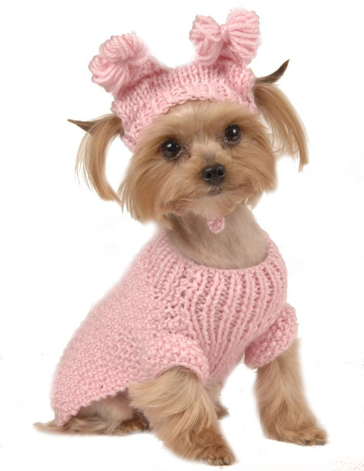 Max S Closet Pet Dog Clothing Pink Cable Sweater W Hat