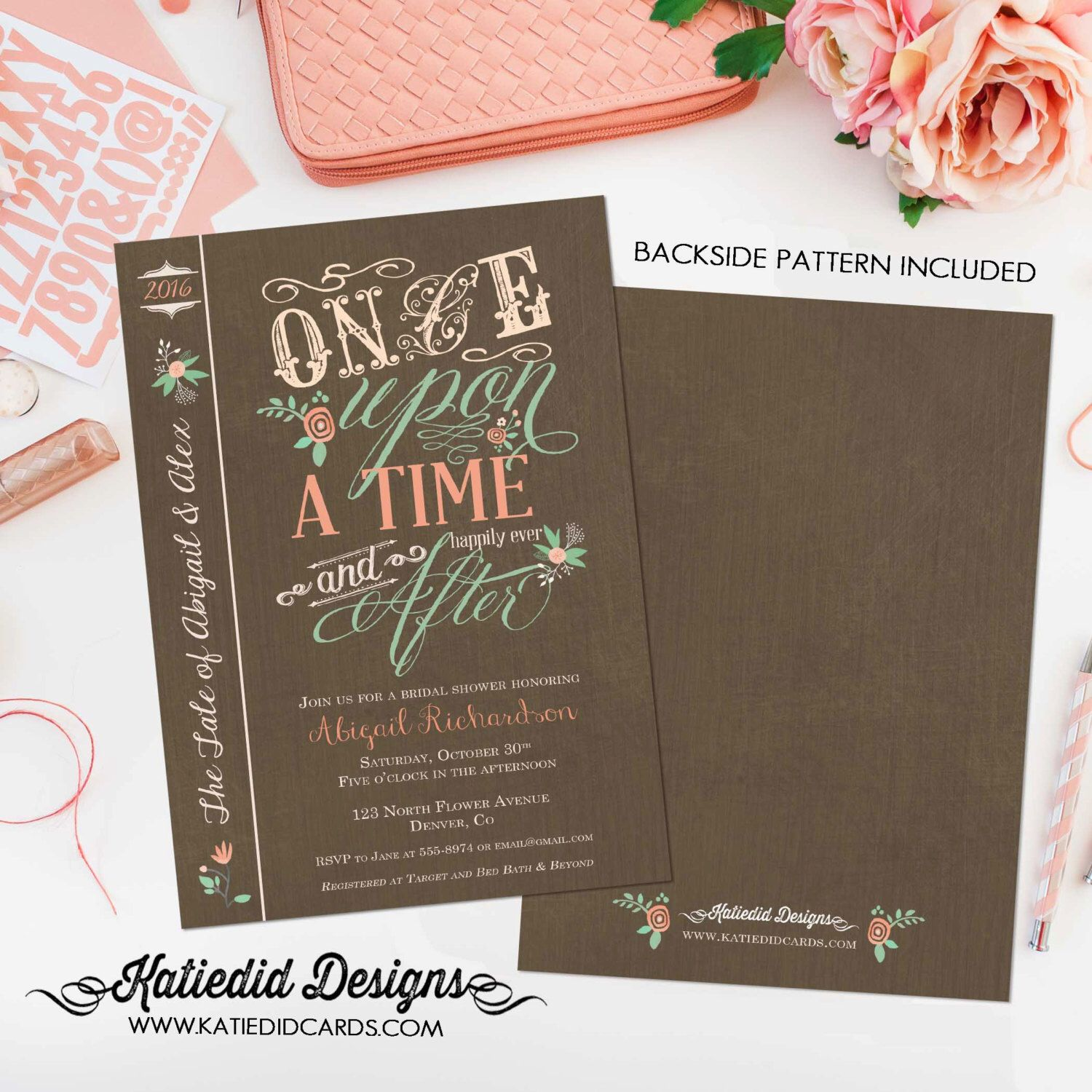 Couples Bridal Invitation Happily Ever After Bridal Shower Kraft