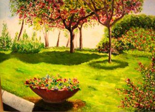 Giardini di Largo del castello. Anno ......... ( NAPOLI )Dipinto dal vero olio su tela