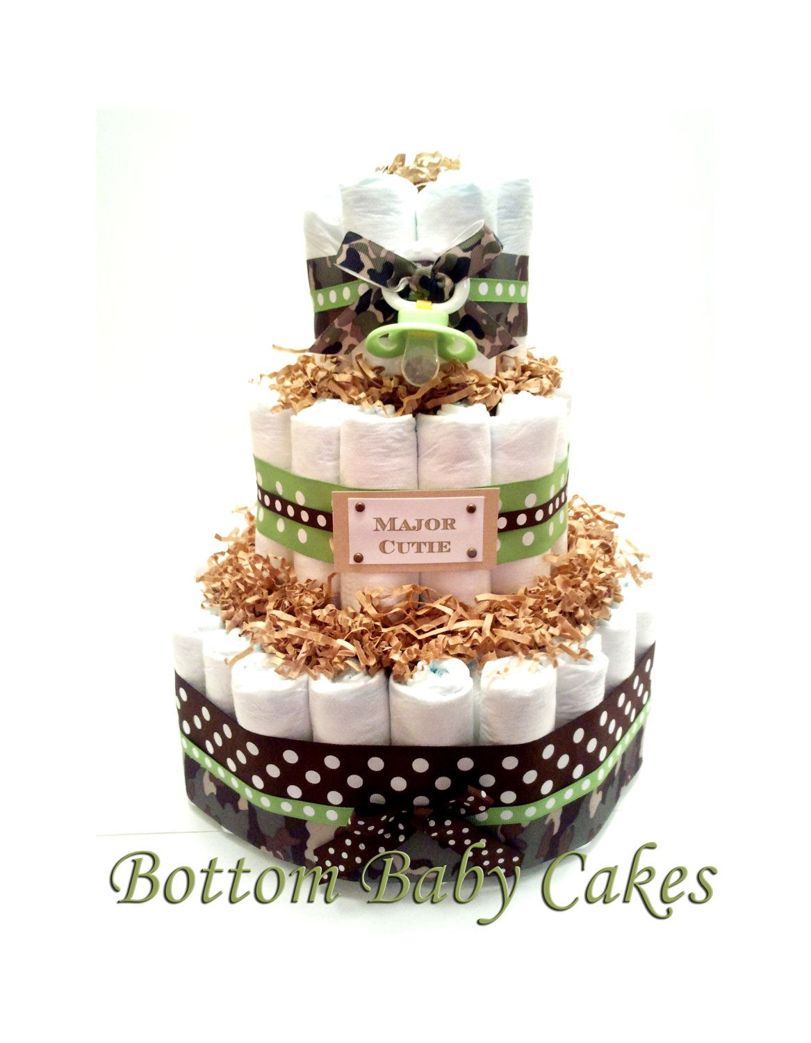 Army Baby Boy Diaper Cake, Baby Diaper Cakes,Baby Boy Gifts, Shower Centerpiece. $55.95, via Etsy.