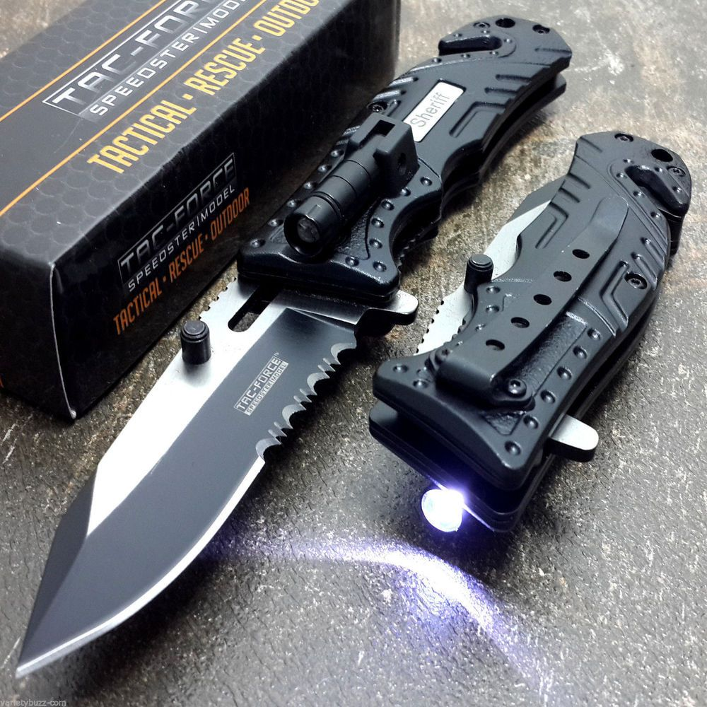 Tac Force Black Sheriff Spring Assisted Open Led Tactical