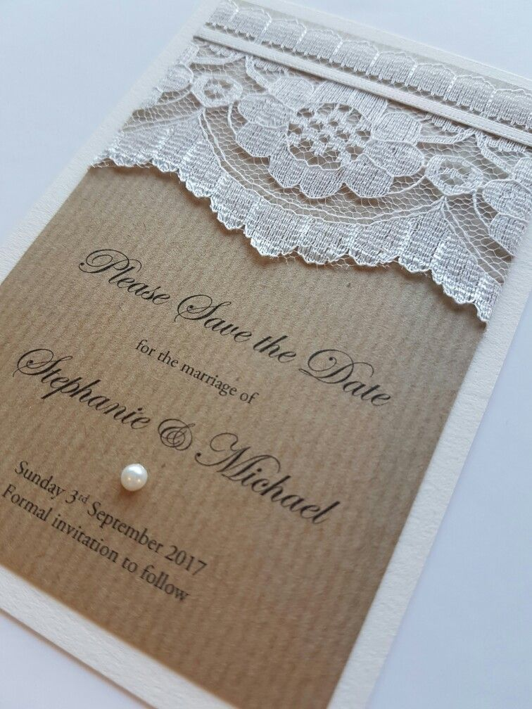 Rustic and lace theme Save the Date idea