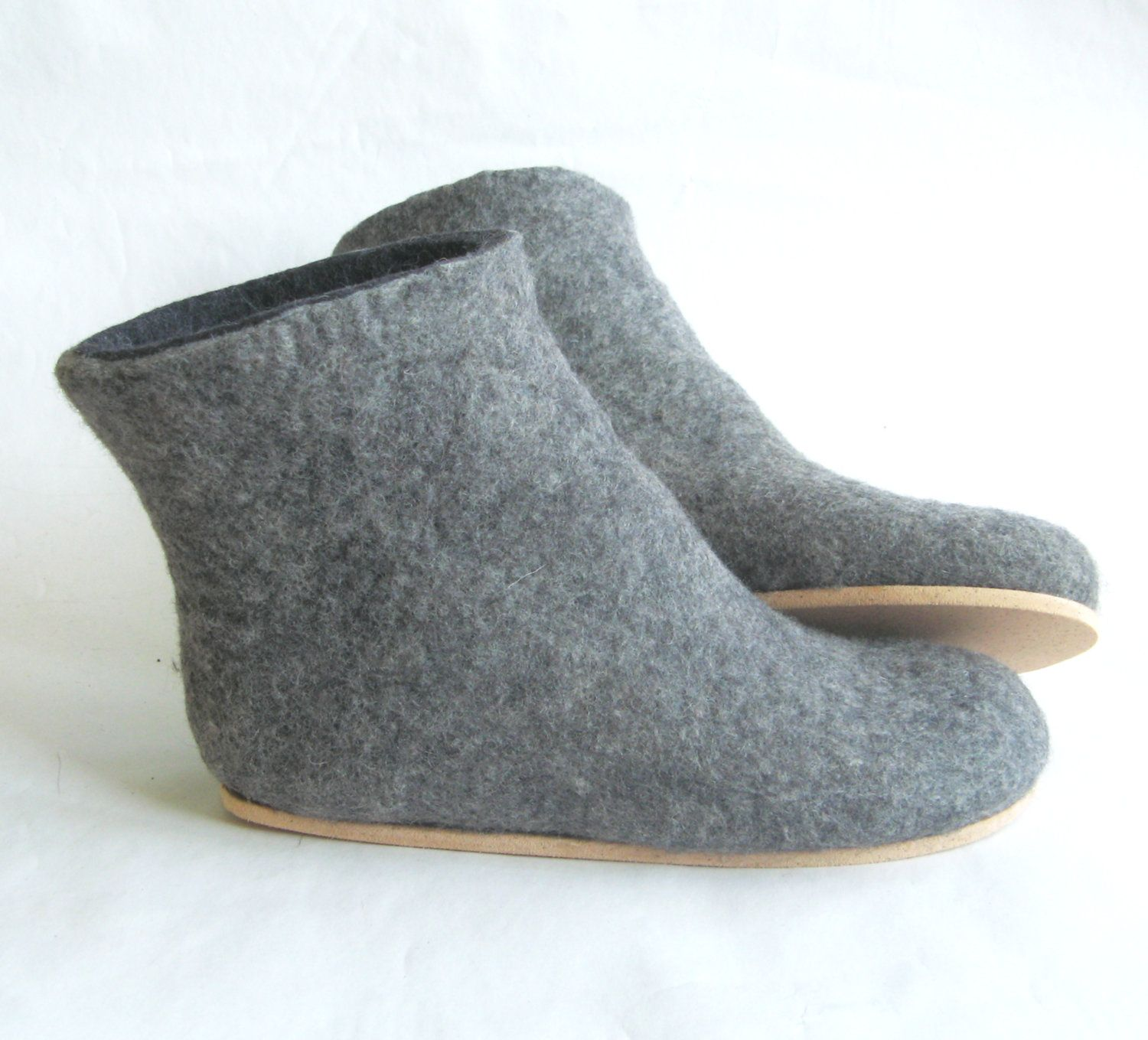Handmade Gray Natural Wool Boots For Indoors And Winter Etsy Felt Boots Boots Womens Boots Ankle