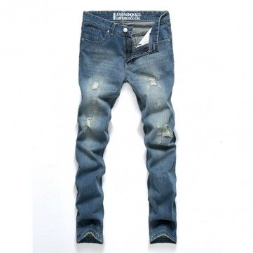 Men's Fashion Slim Fit Light Blue Denim Fabric Ripped Jeans Middle-rise Casual Trousers - NewChic #fashion #slim_fit #light_blue #casual