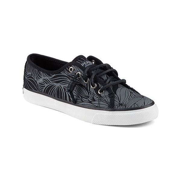 Women's Sperry Top-Sider Seacoast Ombre Leaf Sneaker - Black/Grey... ($60) ❤ liked on Polyvore featuring shoes, sneakers, casual, casual shoes, grey shoes, black canvas sneakers, canvas shoes, black shoes and black trainers