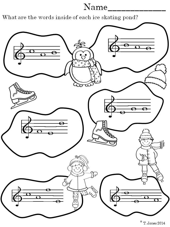 music worksheets treble clef note reading winter fun classroom music worksheets teaching. Black Bedroom Furniture Sets. Home Design Ideas