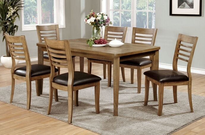 7 Pc Dwight II Collection Transitional Style Natural Tone Finish Wood Dining  Table Set With Ladder