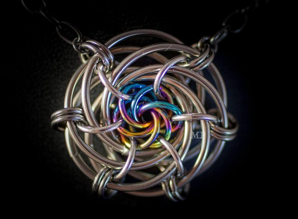 Grandma's Rose, Stainless steel and rainbow niobium.