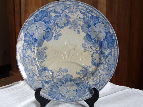 ancienne assiette asperges artichauts fa ence u c sarreguemines g ranium bleu vaisselle bleu. Black Bedroom Furniture Sets. Home Design Ideas