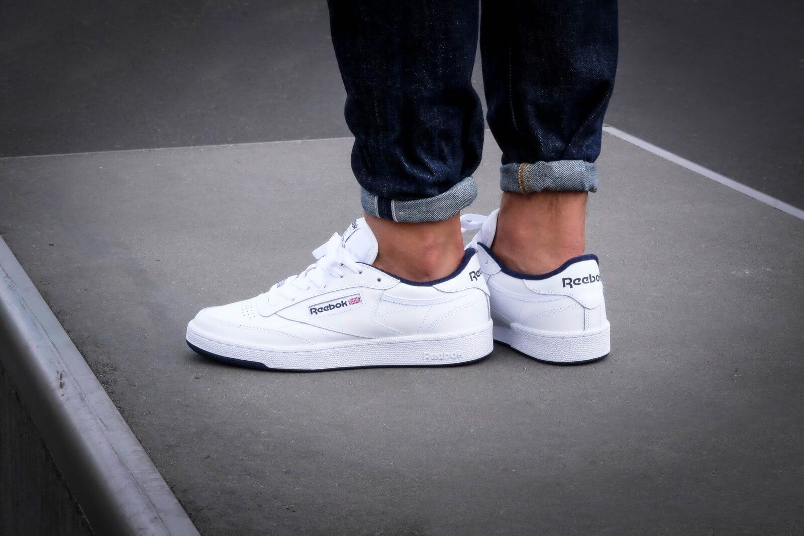 huge discount bea3f 3b917 REEBOK Club C 85 White Navy