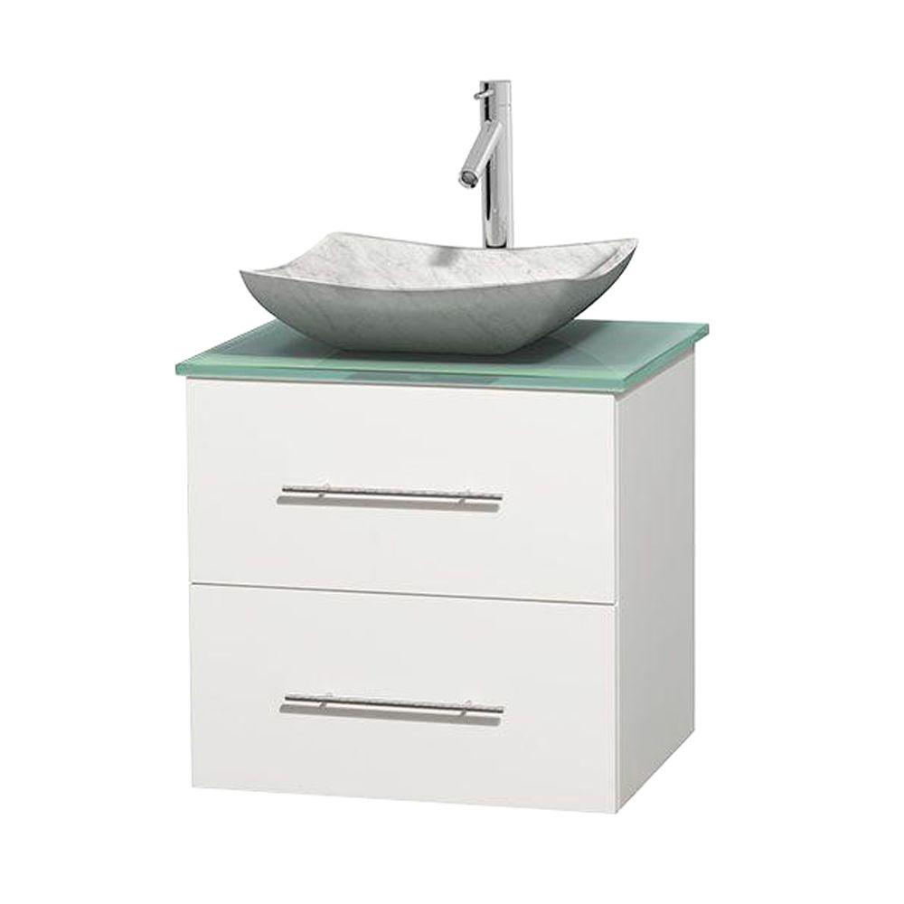 Wyndham Collection Centra 24 In Vanity In White With Glass Vanity
